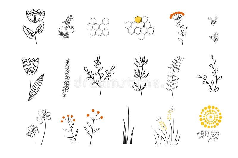 Заводы Doodle установленные для пчел меда иллюстрация вектора