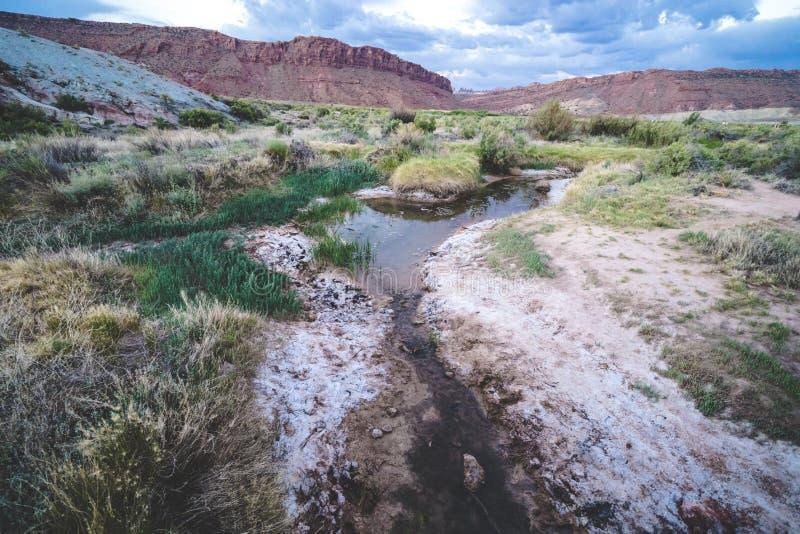Заводь вдоль чувствительных сводов отстает в национальном парке сводов Восход солнца стоковые изображения rf