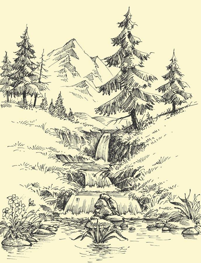 Заводь в горах иллюстрация вектора