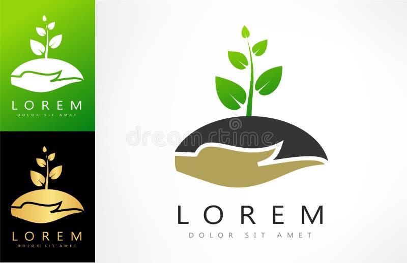 Завод в логотипе руки иллюстрация штока