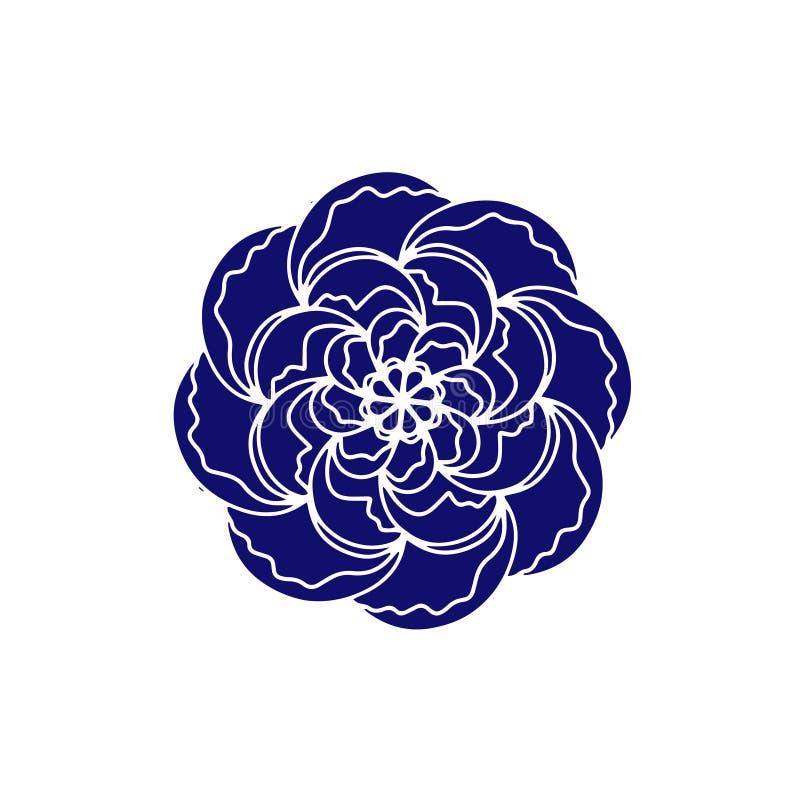 Завод голубого розового значка вектора цветка органический Плакат или открытка свадьбы руки вычерченные Флористическое оформление иллюстрация штока