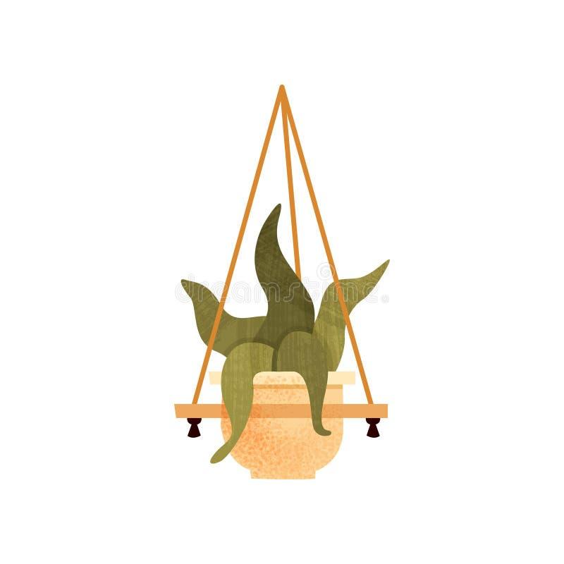 Завод дома зеленой смертной казни через повешение в горшке, элемент для дома украшения или иллюстрация вектора офиса внутренняя н бесплатная иллюстрация