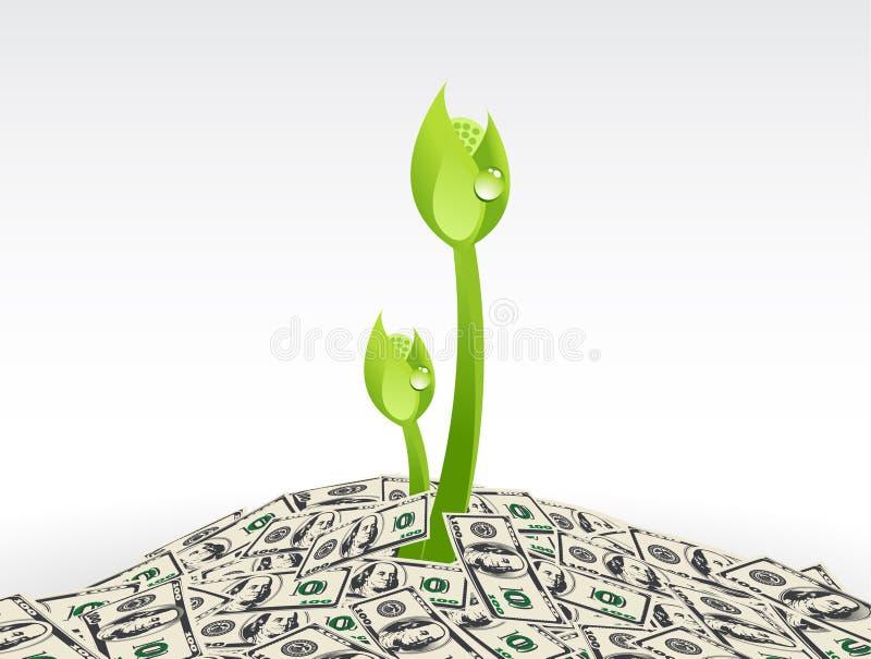 Завод и доллары, завод растя от иллюстрации запаса вектора денег иллюстрация вектора