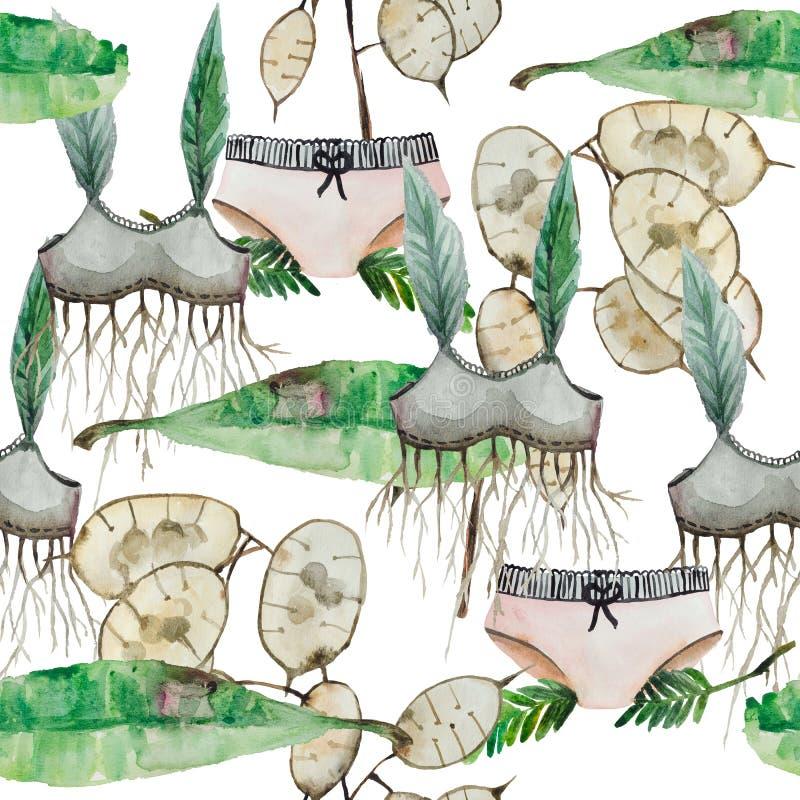 Завод и одежды картины акварели безшовные бесплатная иллюстрация