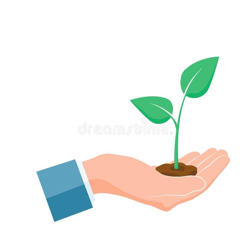 Завод, который выросли в руке Зеленый росток растет вверх в ладони Концепция заботы и безопасности также вектор иллюстрации притя бесплатная иллюстрация