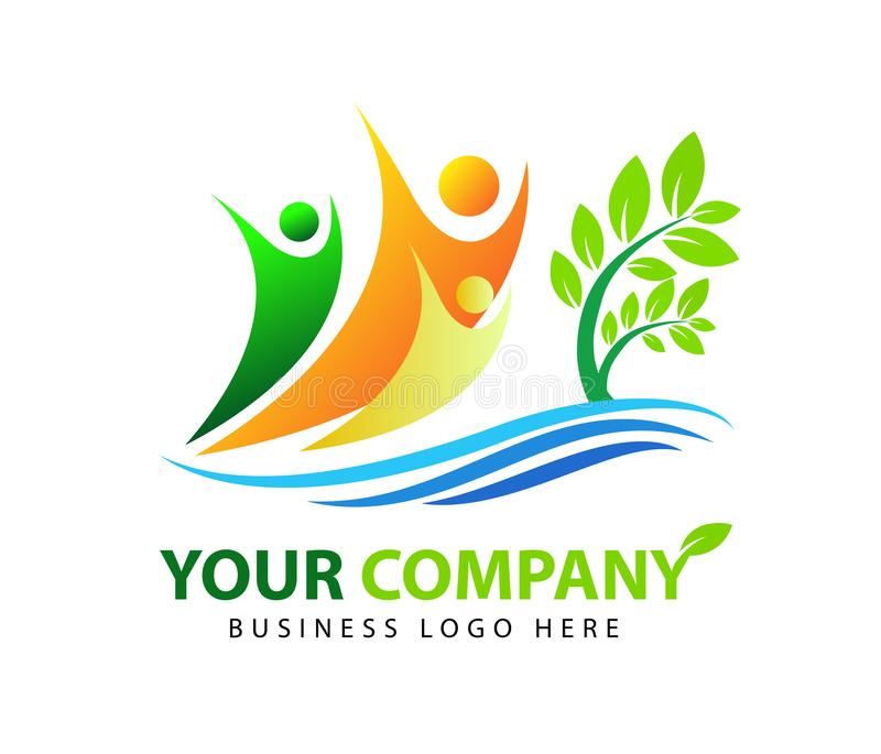 Завод, люди, вода, естественная, логотип, здоровье, солнце, лист, ботаника, экологичность, вектор установленного дизайна значка с бесплатная иллюстрация