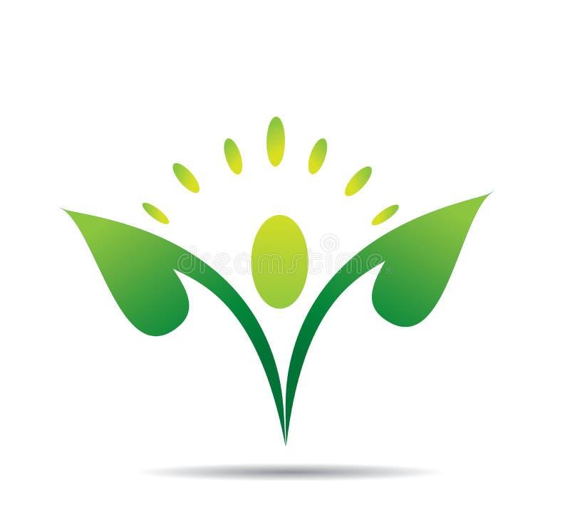 Завод, люди, естественное, логотип, здоровье, солнце, лист, ботаника, экологичность, символ и значок иллюстрация вектора
