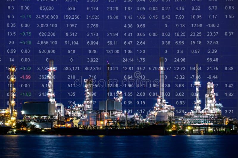 Завод нефтеперерабатывающего предприятия, индекс курса акций сырой нефти стоковое фото
