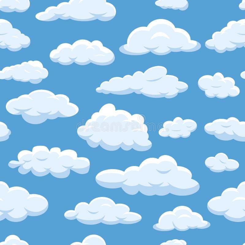 Заволакивает безшовная картина на cloudscape вектора предпосылки голубого неба пасмурном ярком Облако погоды воздуха природы пуши иллюстрация штока