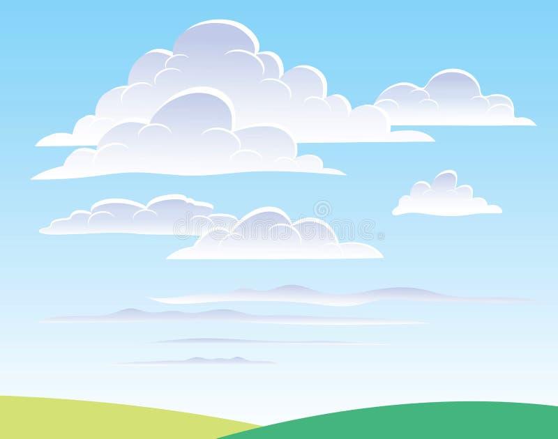заволакивает небо дневного времени иллюстрация вектора