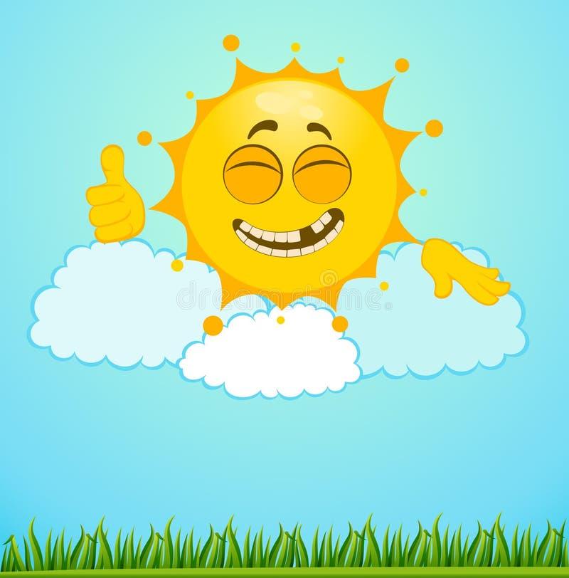 заволакивает смешное маленькое солнце иллюстрация вектора