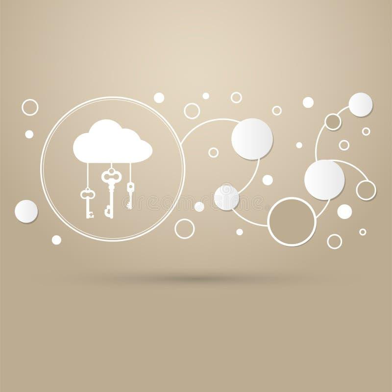 Заволоките запоминающее устройство с значком замка на коричневой предпосылке с элегантным стилем и современным дизайном infograph бесплатная иллюстрация