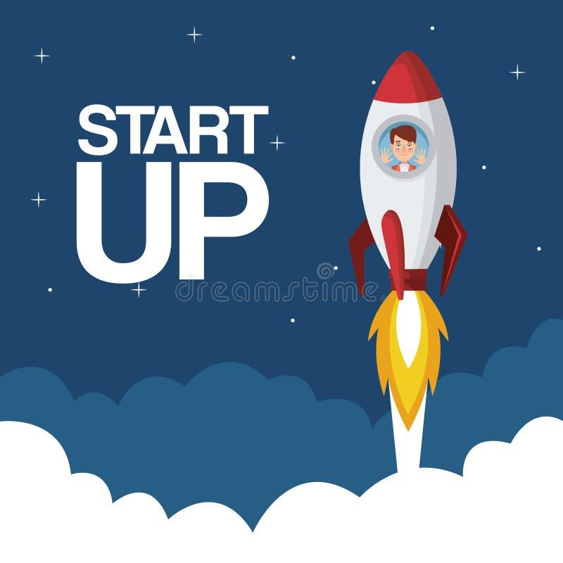 Заволоките звезда предпосылки ландшафта вверх по бизнесмену внутрь для того чтобы выпустить ракету иллюстрация вектора