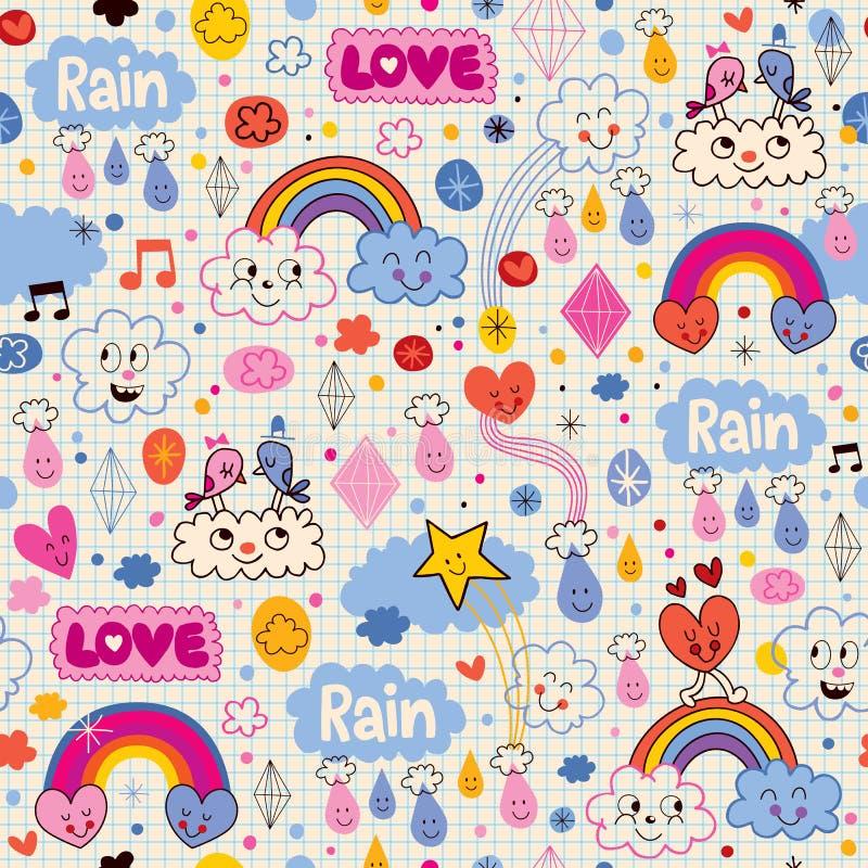 Заволакивает картина сердец влюбленности дождя птиц радуг иллюстрация вектора