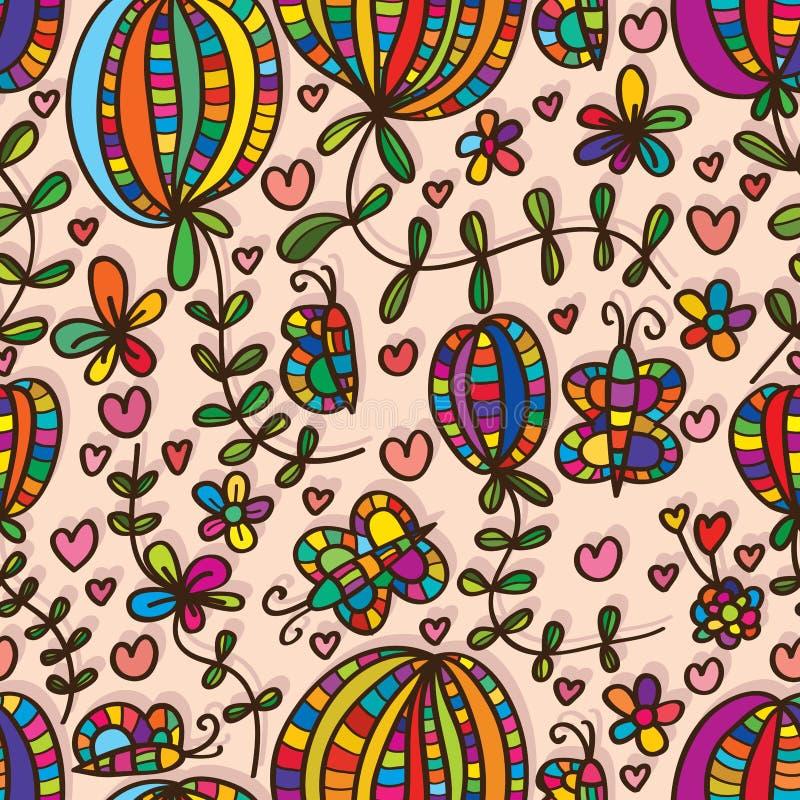 Завода цветка бабочки картина естественного безшовная иллюстрация вектора
