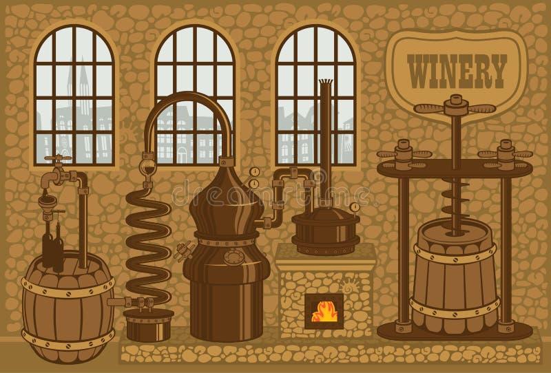 Завод винодельни для продукции вина иллюстрация вектора
