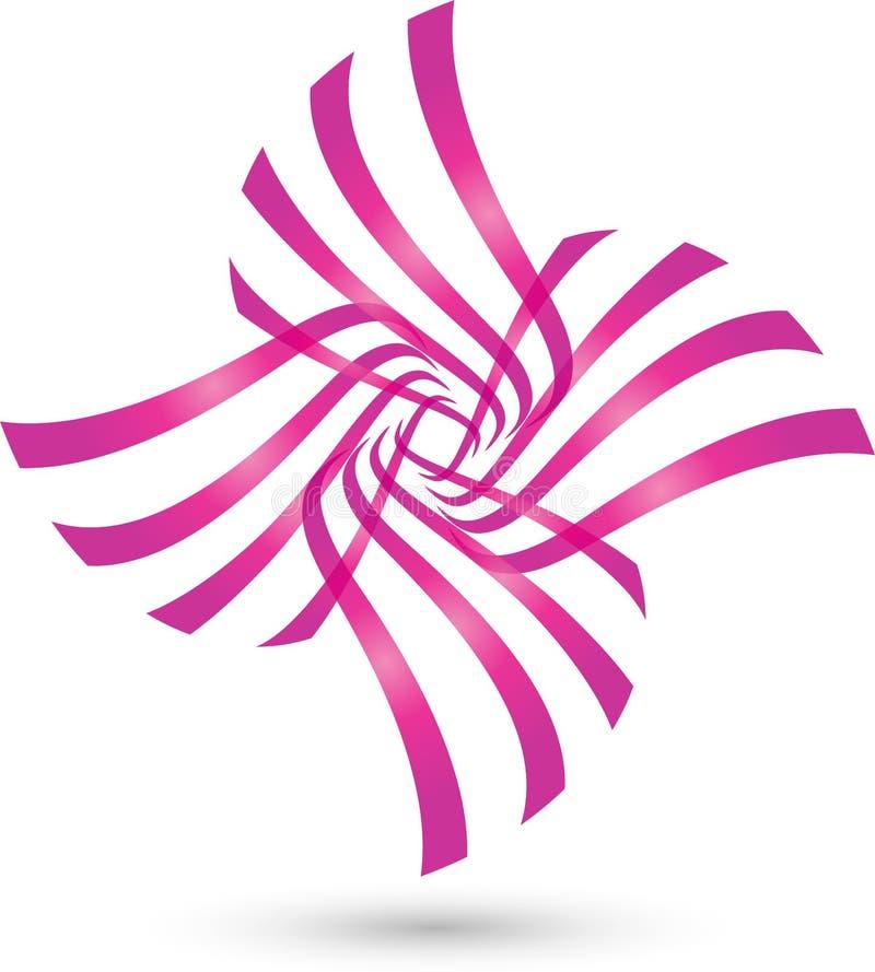 Завод в цвете, покрашенном конспекте, логотипе здоровья иллюстрация вектора