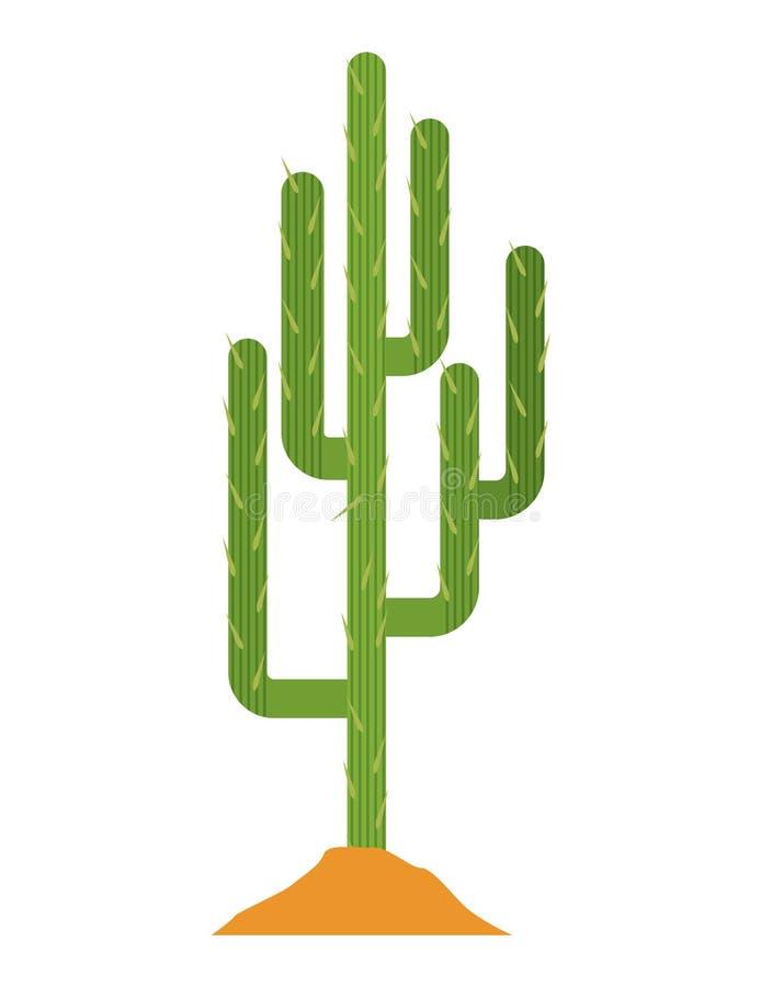Завод кактуса с дизайном земли иллюстрация штока