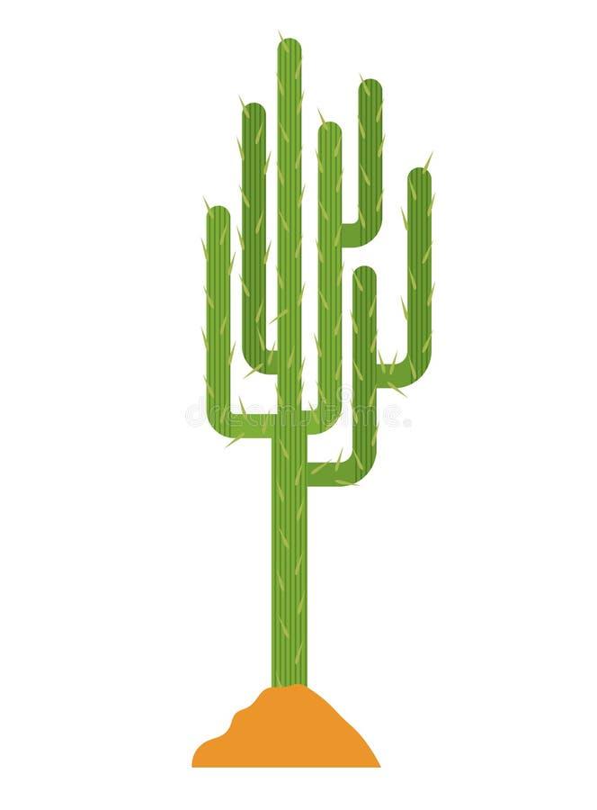 Завод кактуса с дизайном земли иллюстрация вектора