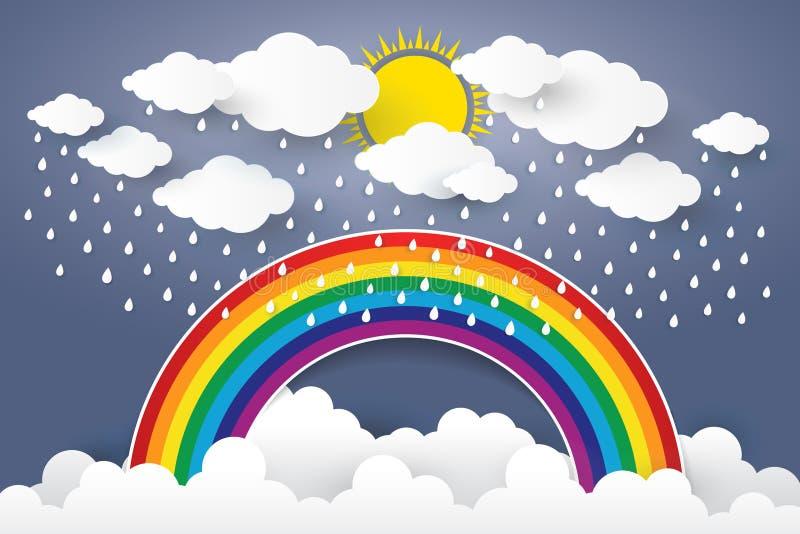 Заволоките в голубое небо с стилем искусства дождя и радуги бумажным Вектор i иллюстрация штока