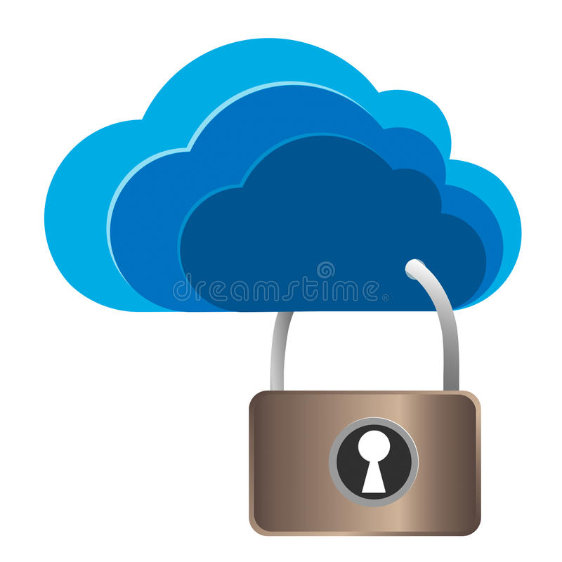 Заволоките замок безопасностью, концепция вычислять облака журналы сети иллюстрация вектора