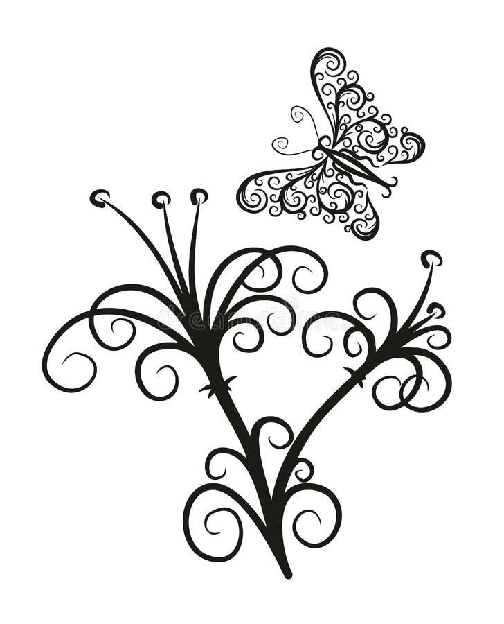Завод с бабочкой иллюстрация вектора