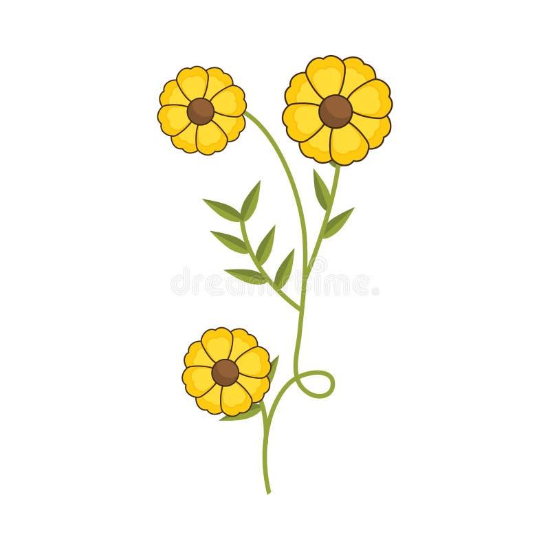 Завод с степенью последствий и желтыми цветками бесплатная иллюстрация