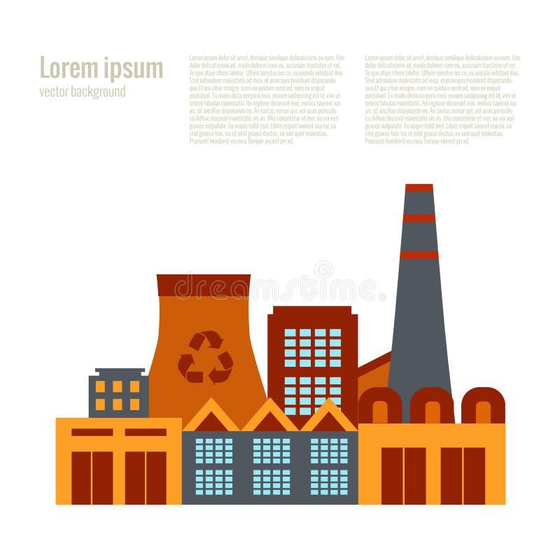 Завод утилизации отходов иллюстрации вектора в плоском стиле иллюстрация вектора