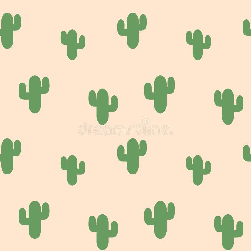 Заводы милого зеленого кактуса суккулентные на иллюстрации картины розовой предпосылки безшовной бесплатная иллюстрация