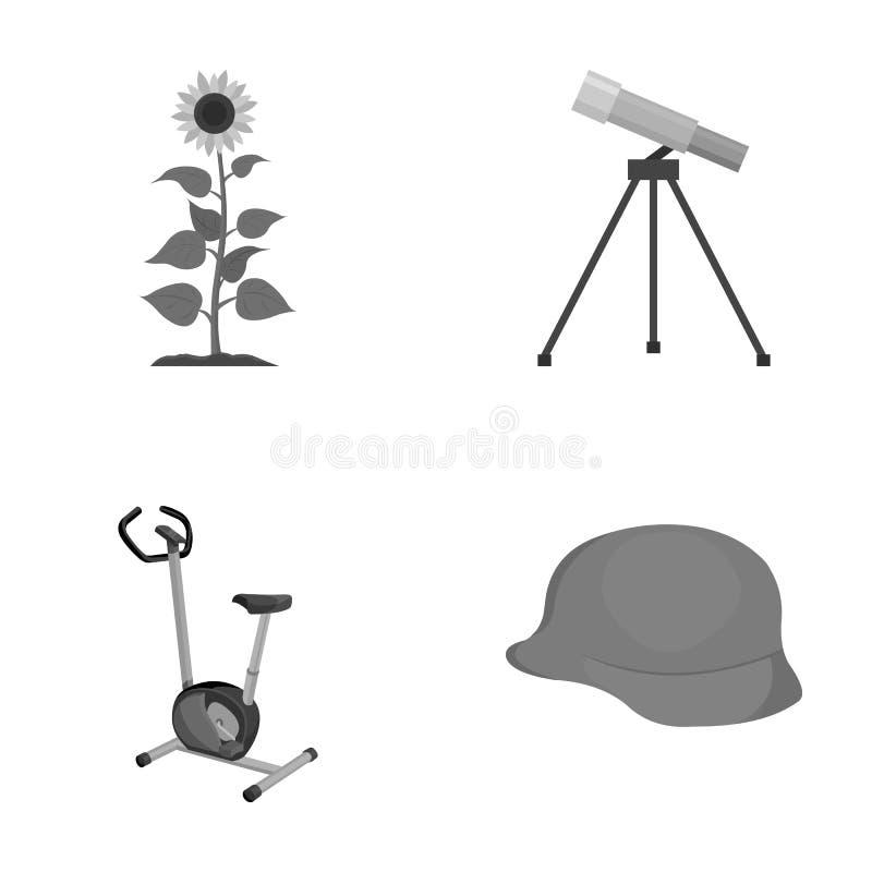 Заводы, фитнес и другой monochrome значок в стиле шаржа образование, значки армии в собрании комплекта иллюстрация штока