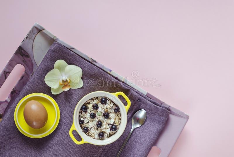 Завтрак в кровати взгляд сверху на подносе овсяной каши в желтом баке, muesli со свежими голубиками, яйца на пурпурной салфетке н стоковые фотографии rf