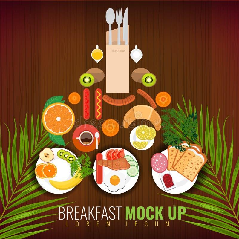 Завтрак яичниц, кофе и других ед Дизайн крышки меню с тропическими лист также вектор иллюстрации притяжки corel бесплатная иллюстрация