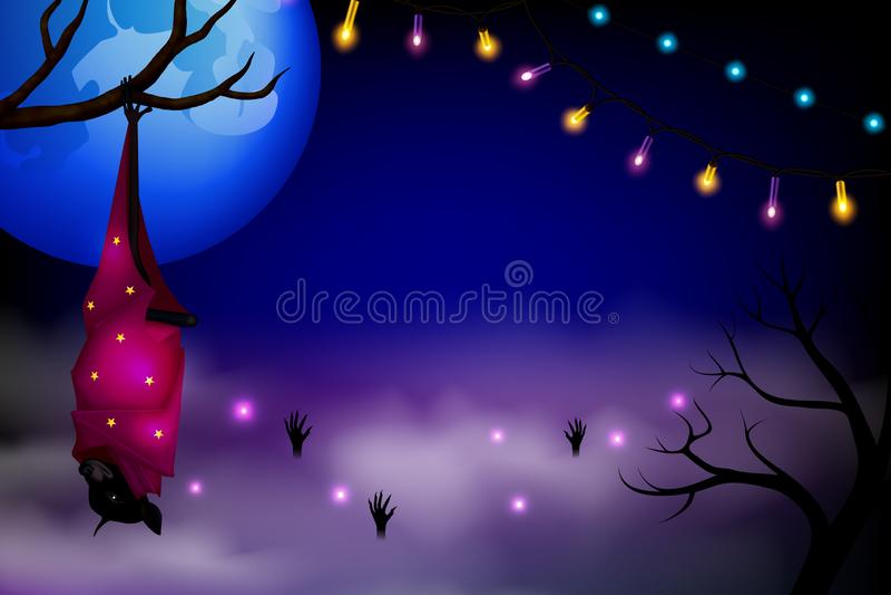 Загадочная предпосылка хеллоуина с волшебной летучей мышью Elebration ¡ Ð хеллоуина бесплатная иллюстрация