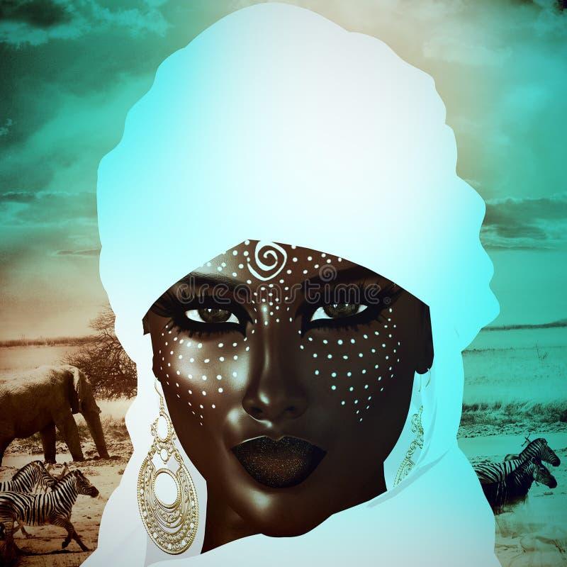 Загадочная черная арабская женщина от сахарских песков иллюстрация штока