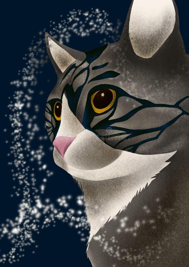 Загадочный серый кот иллюстрация штока