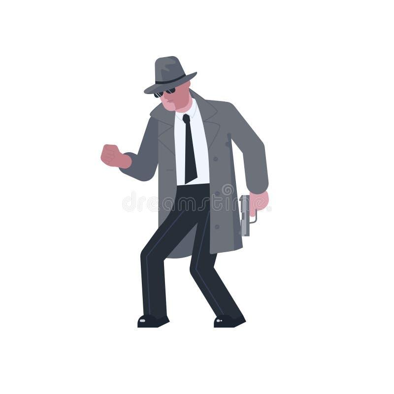 Загадочный человек с пистолетом крадется иллюстрация вектора
