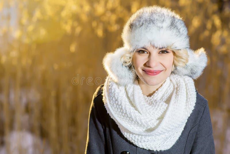 Загадочная девушка в взгляде парка вечера зимы на небе стоковое фото