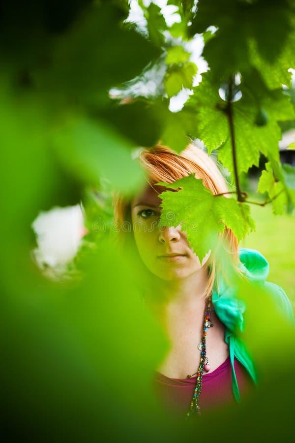 Загадочная женщина за листьями стоковое фото rf