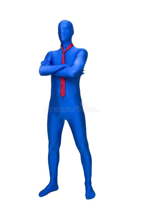 Загадочный голубой человек в morphsuit с красной связью вокруг ее шеи стоковые изображения