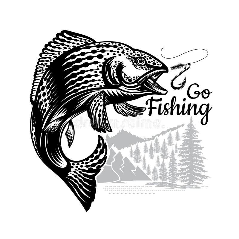 Загиб рыб семг в engrving стиле на предпосылке природы Логотип для удить, чемпионата и спортивного клуба на белизне бесплатная иллюстрация