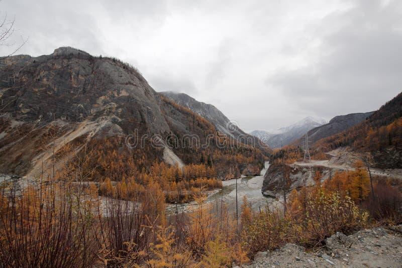 Загиб черного реки Irkut в верхнем ущелье стоковые фотографии rf