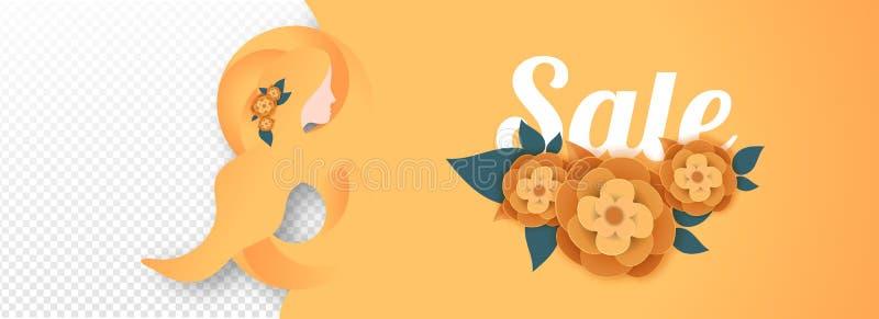 Заголовок продажи или дизайн знамени со стильным текстом 8-ое марта и бумажными срезанными цветками иллюстрация штока