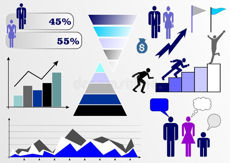 Заголовок: Vektorillustration med infographics: folk, affär, finans, grafer och diagram och olika diagram vektor illustrationer