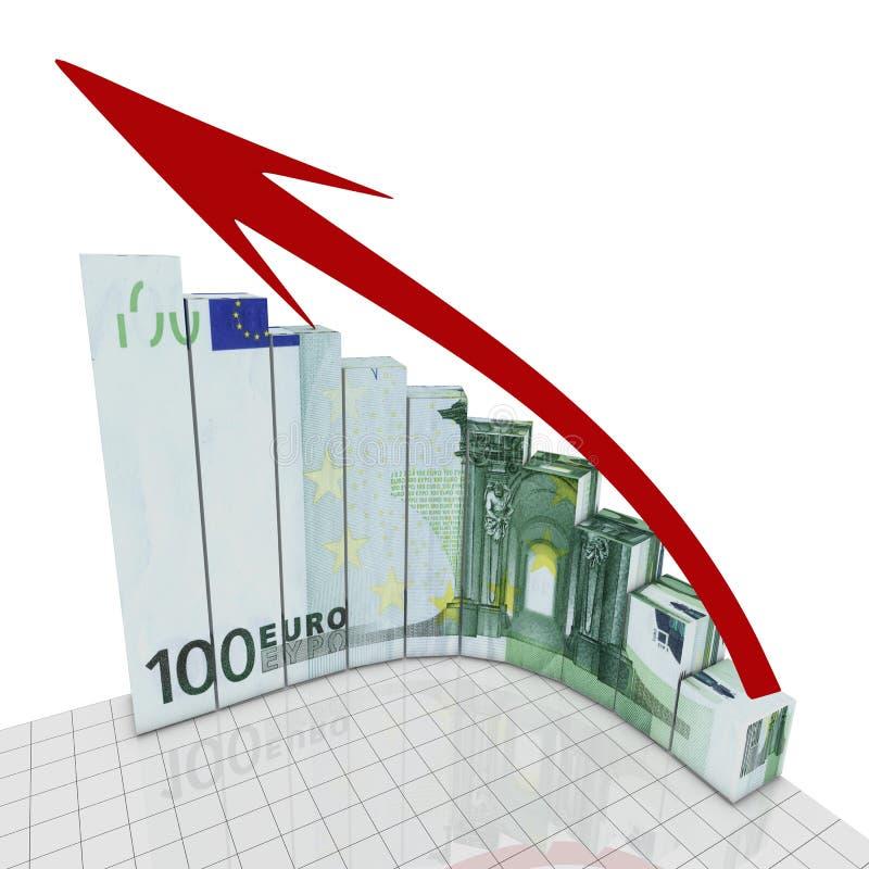 загоняйте диаграмму в угол евро круглую иллюстрация штока