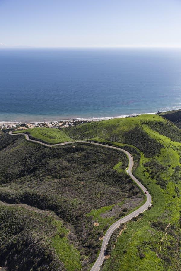 Загон Canyon Road Malibu Калифорния Aerail стоковая фотография