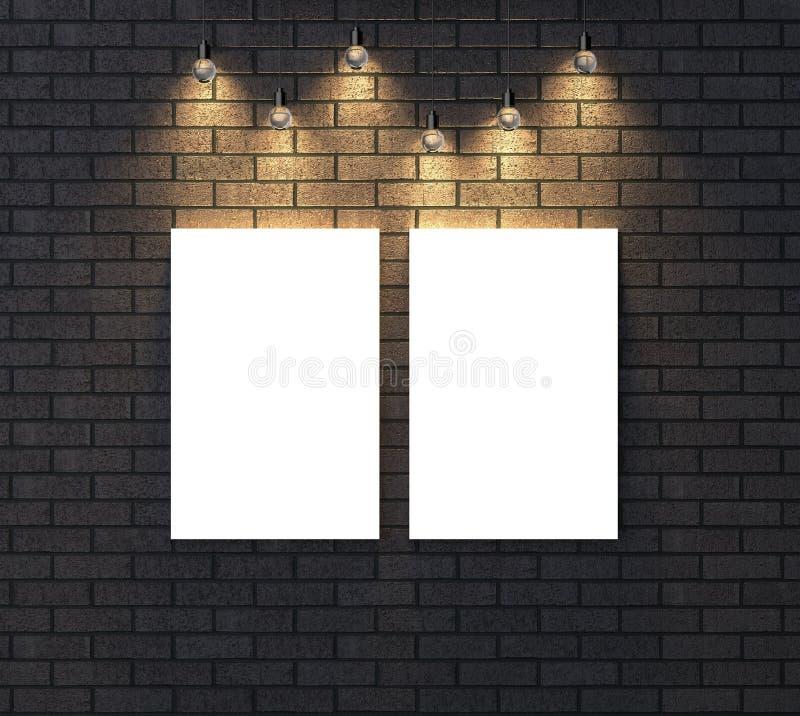 Загоренная пустая насмешка рамки вверх на темной кирпичной стене illustrat 3d стоковая фотография rf