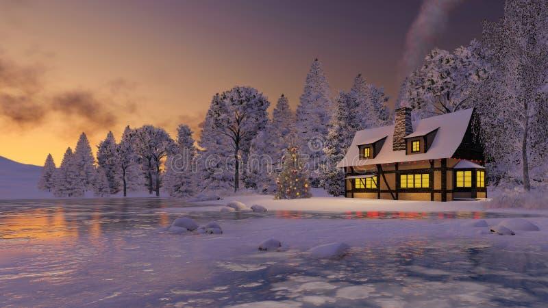 Загоренные деревенские дом и рождественская елка на заходе солнца иллюстрация вектора