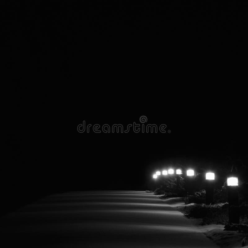 Загоренные света тропы парка Snowy, перспектива строки фонарных столбов фонариков мостоваой тропы яркого Lit белая внешняя на ноч стоковое фото rf