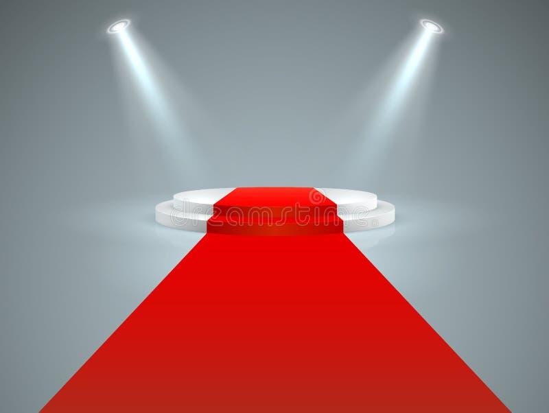 Загоренный подиум Красный ковер пола к белому подиуму, делает центром внимания Премьера фильма Голливуд, образ жизни знаменитости иллюстрация штока