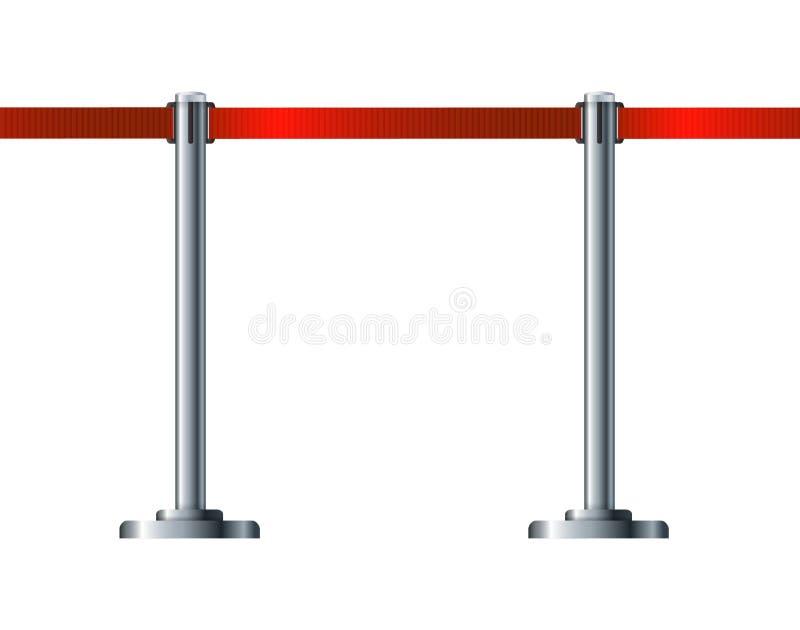 Загородка барьера касс аэропорта Организация движения и безопасности Граница пешеходных зон станций иллюстрация штока